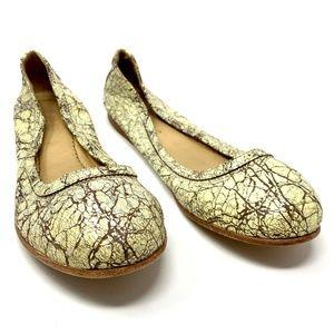 Frye Carson Ballet Flats in Cream Metallic Marble